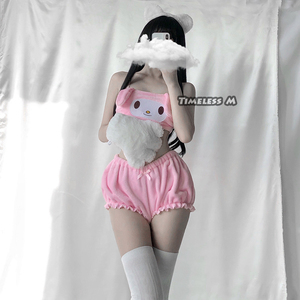 Image 3 - Disfraces de Cosplay de Anime de M atemporal, Top y bragas de tubo de melodía rosa y blanca, conjunto de Kwaii DDLG de oreja larga, sujetador y bombachos