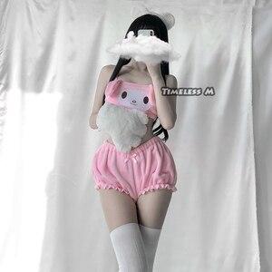 Image 3 - Đồng Hồ M Anime Trang Phục Hóa Trang Trắng Hồng Giai Điệu Ống Trên Và Quần Lót Bộ Kwaii DDLG Dài Tai Chó Áo Ngực và Bloomers