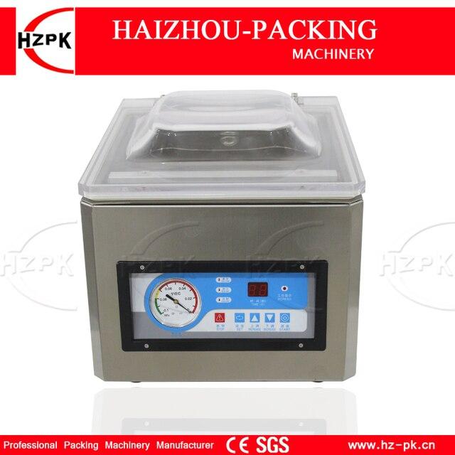 HZPK Machine à emballer sous vide automatique pour aliments de cuisine, en acier inoxydable, fermeture de sacs en plastique, chambre Stee, petite Machine à emballer sous vide DZ260