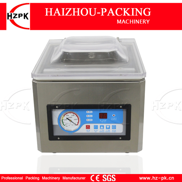 HZPK נירוסטה Stee תא קפה אגוז פלסטיק שקיות איטום מטבח מזון אוטומטי מסחרי קטן מכונת אריזת ואקום DZ260