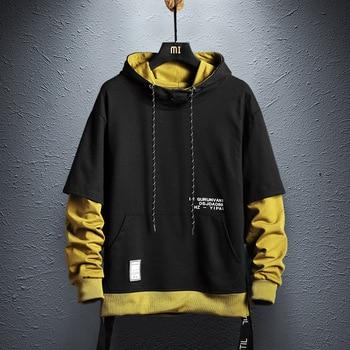 Cool Sweatshirt Men Hip Hop patchwork Long Sleeve Pullover contrast Hoodies Sweatshirt hoodies Men high quality contrast sleeve tape detail sweatshirt dress