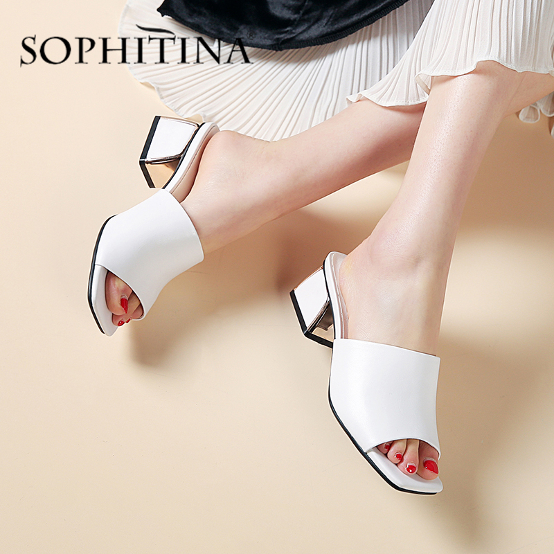SOPHITINA Cow Leather Slippers Women Anti-skid Wear-resistant 5 Cm Square Heel Peep Toe Sandals Summer New Concise Sandals SO476