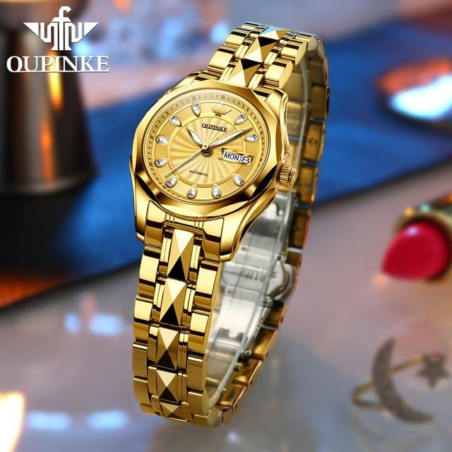 OUPINKE Luxury Gold Mechanical Watch For Women Sapphire Crystal Automatic Watch Ladies Wristwatches Waterproofrelogio feminino 3