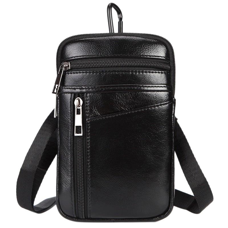 MISFITS Men's Pocket Leather Hook Belt Buckle Shoulder Messenger Bag Small Satchel Mobile Phone Case