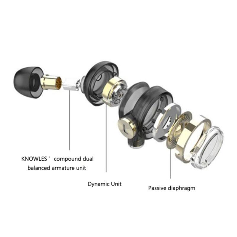 UiiSii BA T9 fones de ouvido Intra auricular HI RES 2BA + 1DD 6 Tecnologia de Acionamento Híbrido HiFi fone de ouvido Estéreo para iOS e Android xiaomi Telefones - 3