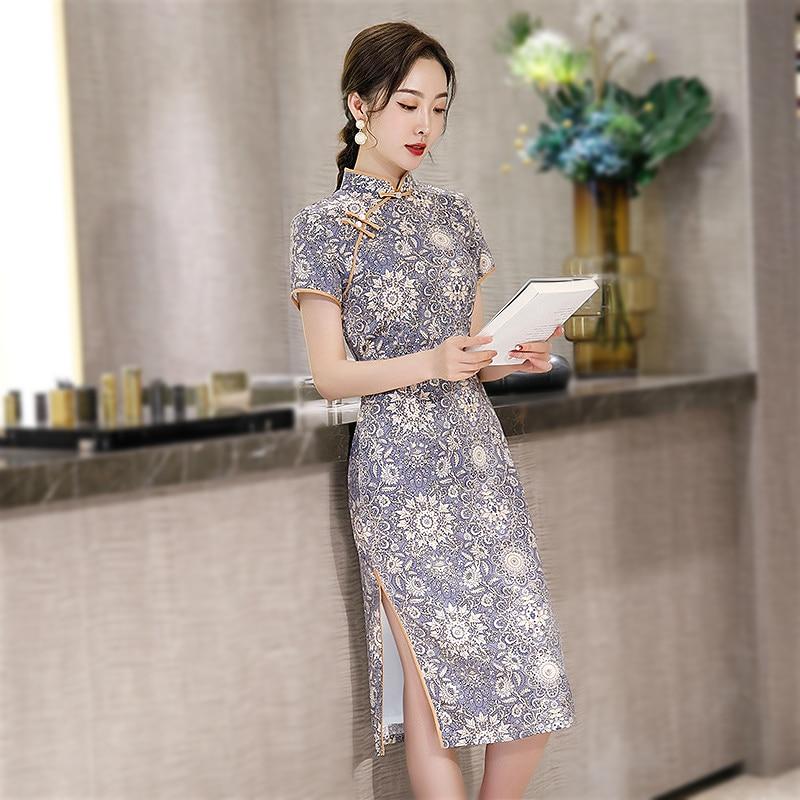 Sheng Coco Chinese Style Cheongsam Plus Size Women Clothing Purple Oriental Vintage Qipao Elegant Short Sleeve Dily Dress