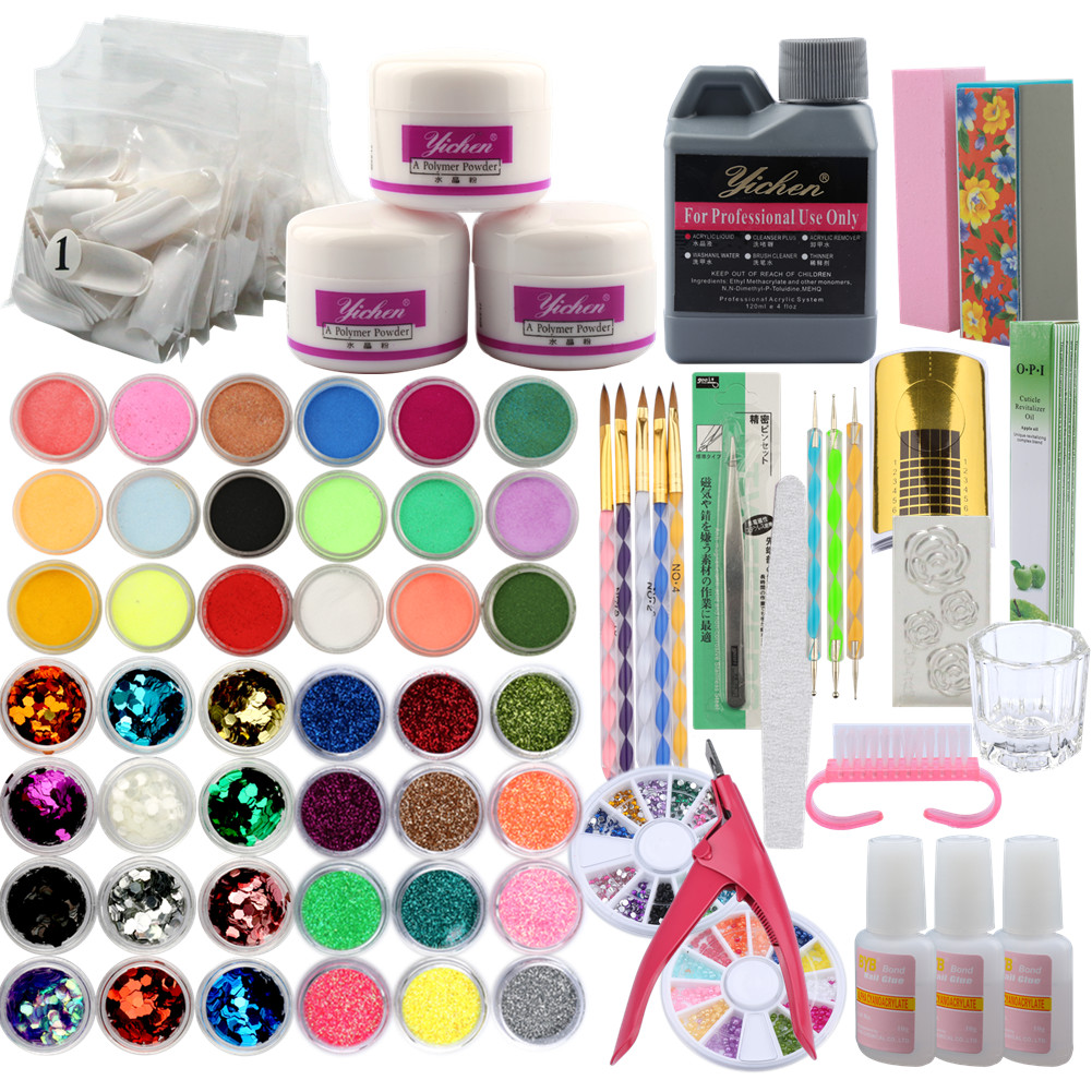 Manicure Acrylic Nail Set Acrylic Powder 3D Tips Glass Cup Nail Brush Crystal Polymer Manicure Tools Set Kit Nail Extension Kits