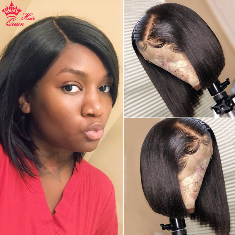 Bob Wig Lace-Wig Short Queen-Hair Fron Women 13x4 Black for 180%Density title=