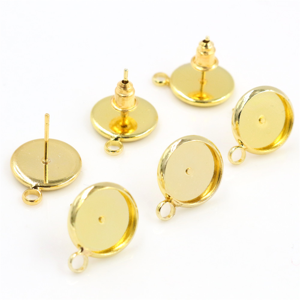 10mm 10pcs/Lot Gold Colors Earring Studs,Earrings Blank/Base,Fit 10mm Glass Cabochons,Buttons;Earring Bezels (T2-07)