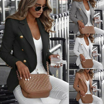 Plus Size S-4XL Women Long Sleeve Slim Fit Jacket Coat Single-breasted Coat Ladies Formal Business Jacket Solid Casual Jacket