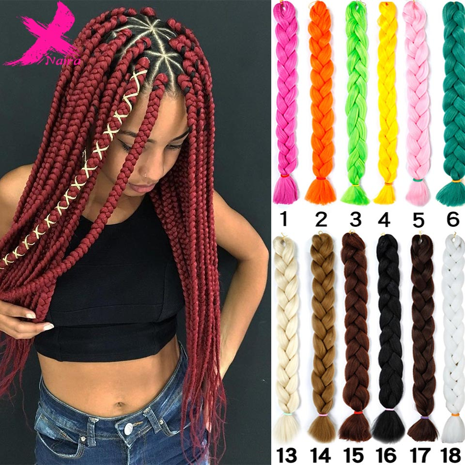 Xnaira Afro Ombre Synthetic Braiding Hair 165g/pcs Long Jumbo Braid Bulk African Braiding Hair Crochet Hair Extensions