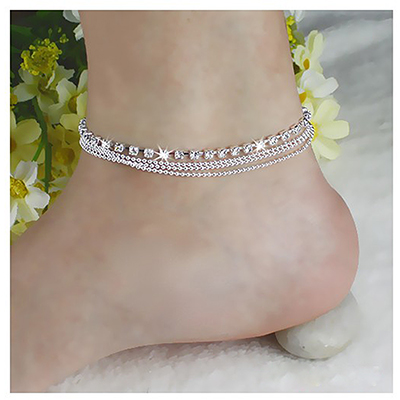 Bohemian Crystal Beads Multilayer Chain Anklet Ladies Charm Foot Jewelry Chains Leg Bracelet Fashion Anklet