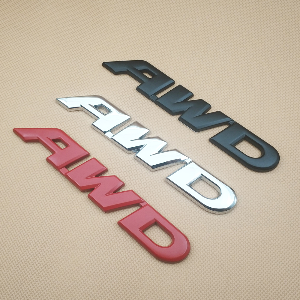 3D Red Glossy AWD Emblem Badge Off Road Truck Logo Metal 4 Wheel Drive Sticker