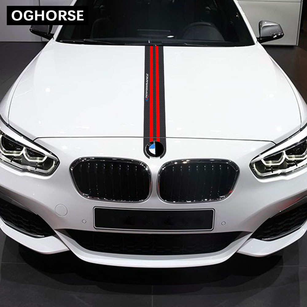 Car Hood Sticker M Performance <font><b>Engine</b></font> <font><b>Cover</b></font> Bonnet 5D Carbon Fiber Vinyl Decal For <font><b>BMW</b></font> E46 E60 <font><b>E90</b></font> F20 F30 F32 F10 G30 F15 F16 image
