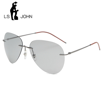LS JOHN Pilot Photochromic Polarized Sunglasses Men Brand Designer Vintage Ultralight Rimless Titanium Sun Glasses for Women