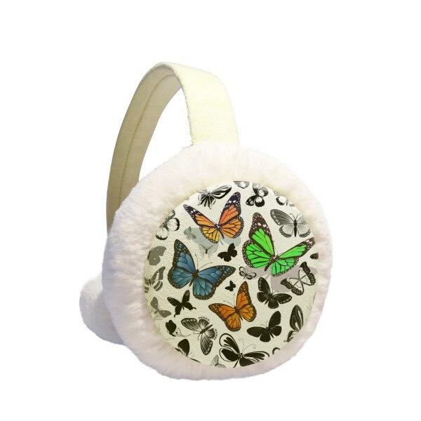 Vintage Scope Of Butterflies Winter Earmuffs Ear Warmers Faux Fur Foldable Plush Outdoor Gift