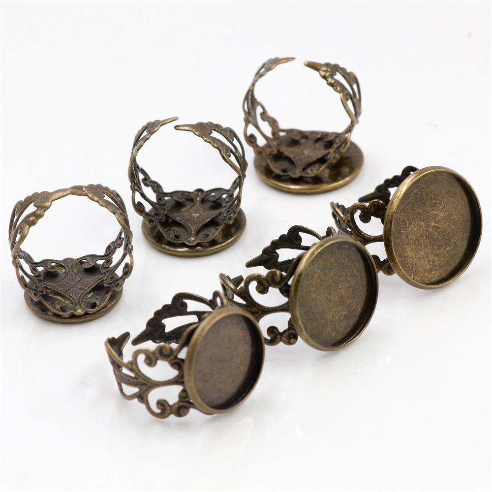 14mm-16mm-18mm 10pcs Bronze Plated Copper Adjustable Ring Settings Blank,Fit 14mm 16mm 18mm Glass Cabochons;Ring Bezels