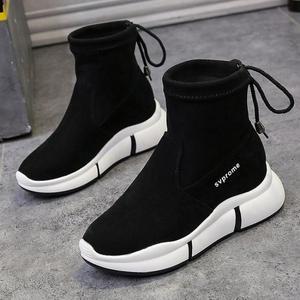 Image 5 - Женские повседневные ботинки SWYIVY, черные ботинки мартинсы на плоской платформе, без застежки, из флока, для осени, 2019