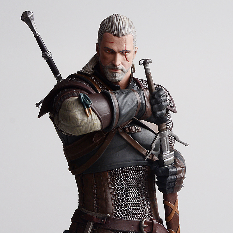 25cm Wicher 3 Wild Hunt Geralt Of Rivia PVC Collective Action Figure Dark Horse Deluxe Keychain Model Toy