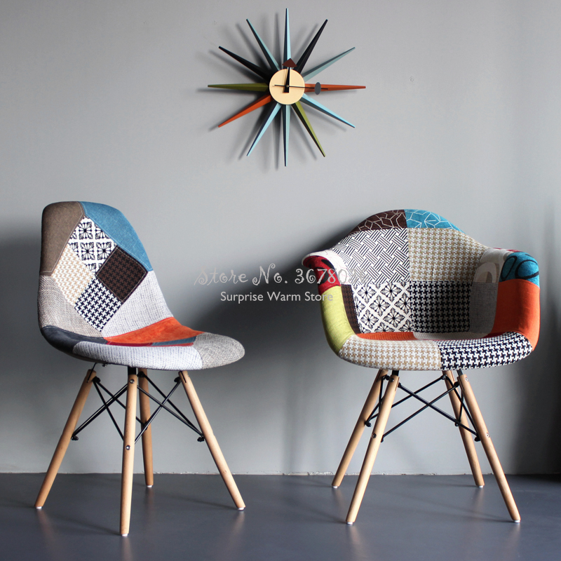 Nordic Ins Style Fabric Stitching Dining Chair Leisure Back Computer Chair Sofa Home Solid Wood  Rocking Chair Bar Chair