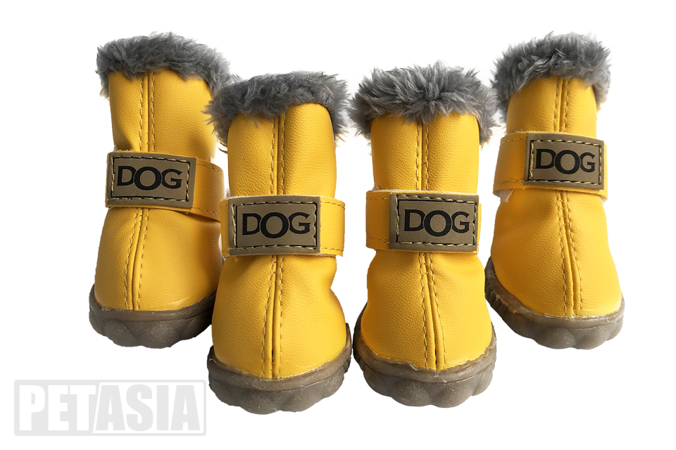 winter dog boots yellow