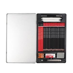 Image 1 - 29pcs Sketch Pencil Set Professional Sketching Drawing Kit Wood Pencil Pencil Iron box For Painter School Students Art Supplies