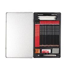29pcs Sketch Pencil Set Professional Sketching Drawing ชุดดินสอไม้ดินสอกล่องเหล็กสำหรับจิตรกรนักเรียน Art Supplies