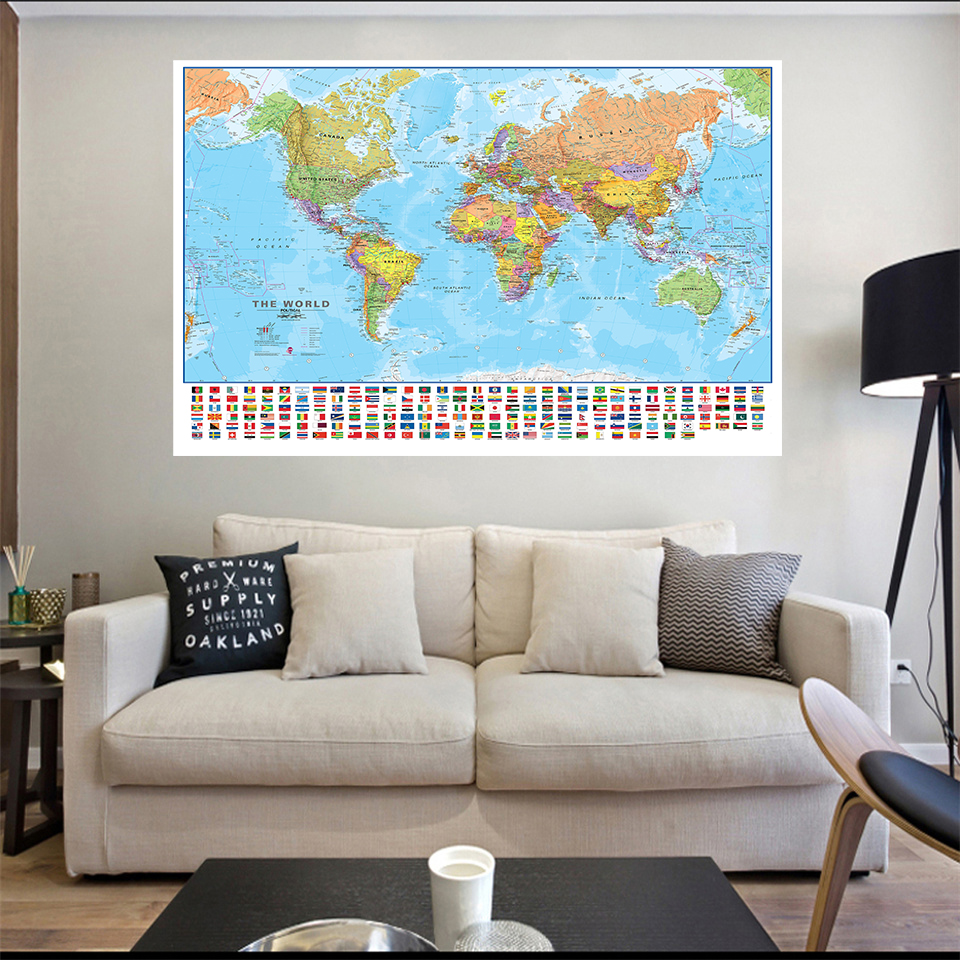 150*100cm The World Map with National Flags HD Printed Non-woven Canvas Painting Wall Art Poster Home Decor Kids School Supplies