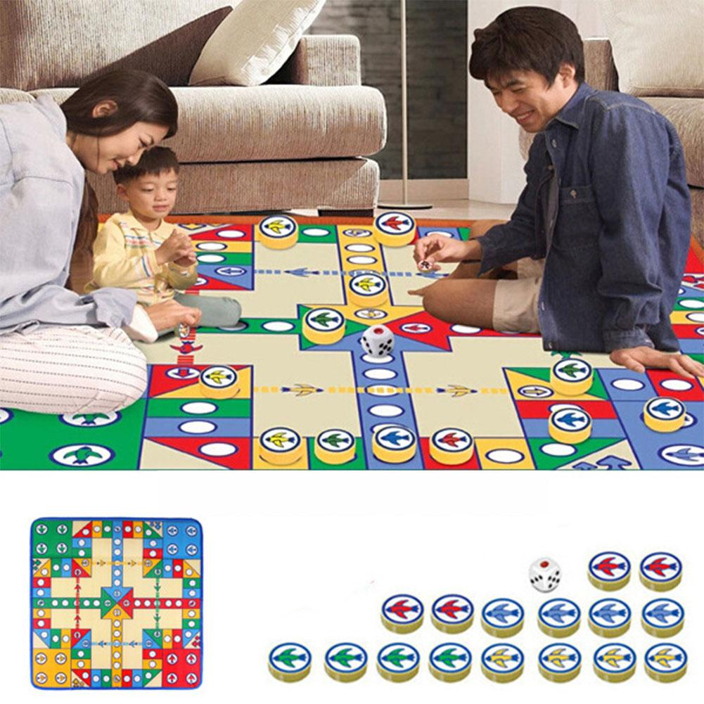 82*82cm Flight Chess Carpet Home Family Games Crawl Pad Baby Non-slip Puzzle Game Land Pad PE Cotton Flying Chess Cushion Mat