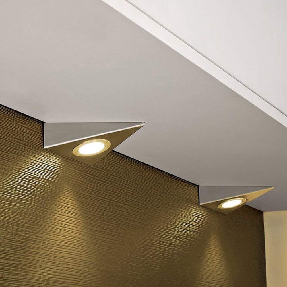 Lámpara LED para armario de cocina, luz LED triangular de acero inoxidable para armario Matamoscas eléctrico multifunción LED, matamoscas, matamosquitos, matamoscas, matamosquitos, sin batería