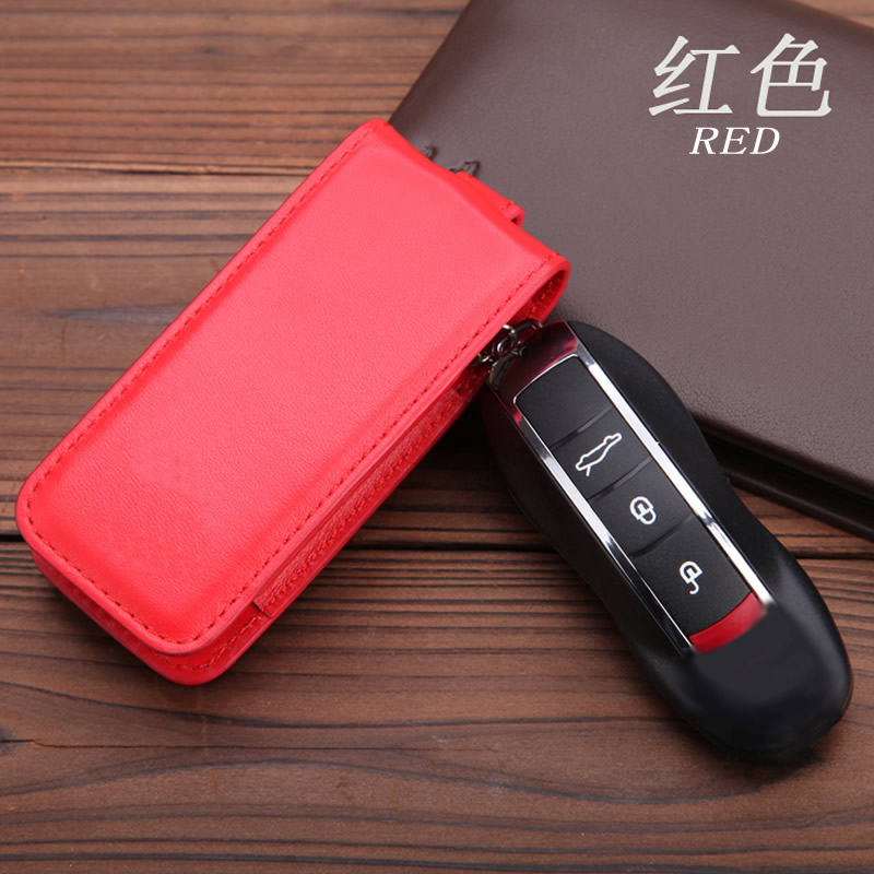 Genuine Leather Key Cover Fit For Porsche Cayenne Macan Panameras Cayman 911