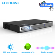 CRENOVA 2019 Newest Portable Projector With Android WIFI Bluetooth Support 4K Videos 3D Mini Projector (Optional 2G  16G) AC3
