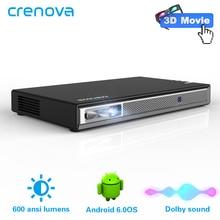 Crenova 2019 최신 휴대용 프로젝터 안드로이드 와이파이 블루투스 지원 4 k 비디오 3d 미니 프로젝터 (옵션 2g 16g) ac3