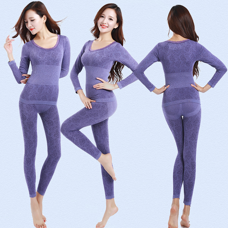 Queenral Thermal Underwear Women Long Johns For Women Winter Thermal Underwear Suit Seamless Breathable Warm Thermal Clothing