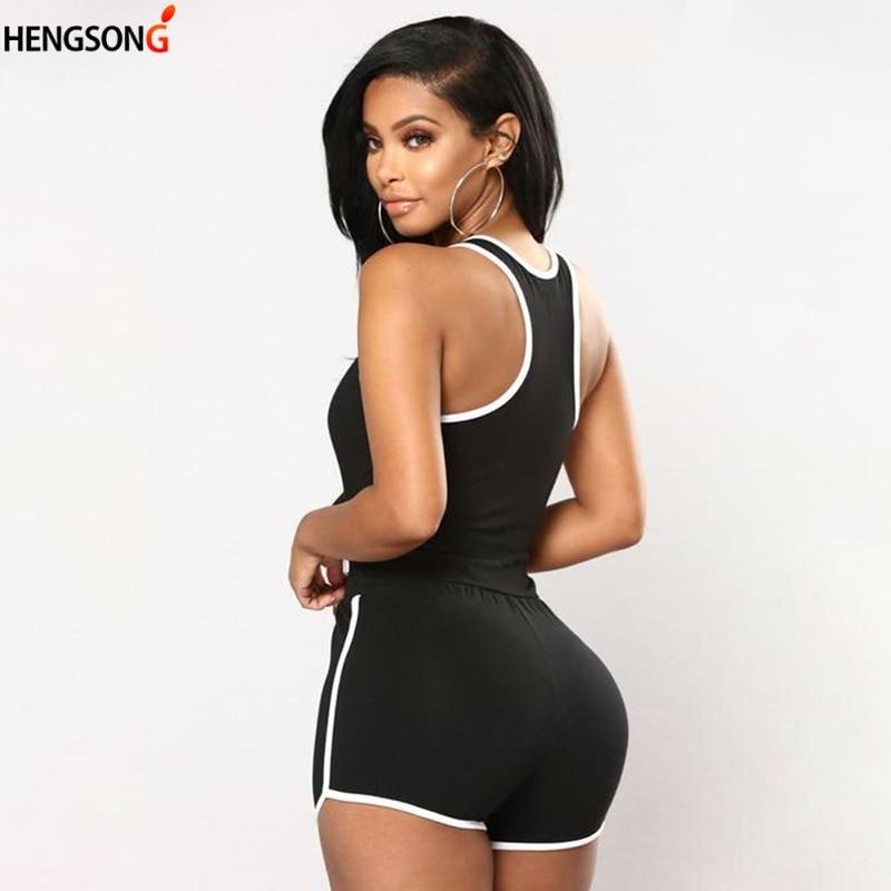 Summer Fitness Bodysuit Playsuit Women Jumpsuit Soild Black White Straps Gym Workout Yoga Rompers Tracksuit Overalls