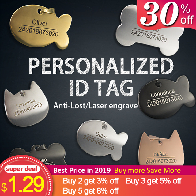 Personalized Dog Tag Stainless Steel Name Engraved ID Tags For Dog Collar Anti Lost Pet Nameplate Pendant For Pitbull Labrador