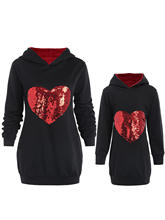 ROSE GAL Casual Lovely Mother Daughter Sequin Love Heart Hoodies Parent-child Out Clothes Family Match Outfit Sweatshirt(China)