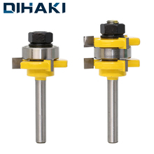 "2 pcs Milling Cutters 1/4"" 1/2"" Shank Tongue Groove Joint Assemble Router Bits T-Slot Milling Cutter for Woodwork Cutting Tools"
