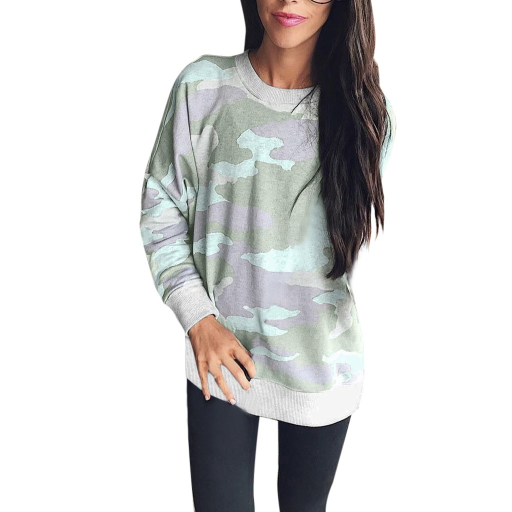 Jaycosin Fashion Women Simple New Camouflage Sweatshirt Stylish Long Sleeve Comfortable Casual Loose Slim Top Blouse 926#3