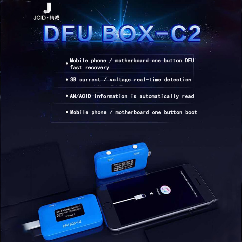 JC DFU BOX-C2 4 In 1 IPhone Restore Programmer One Button Boot Control Line SN/ECID Reader USB Current/Voltage Detector JC  C2