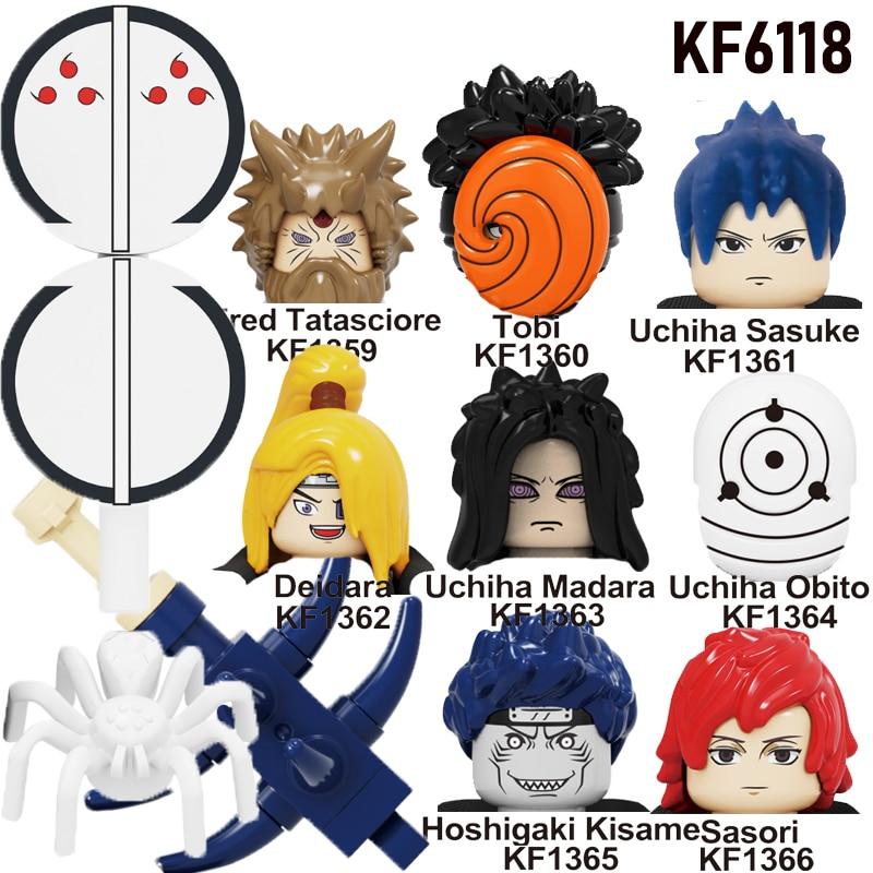 Narutoes One Set/8Pc Mini Building Blocks Figures Hatake Kakashi Uzumaki Uchicha Jiraiya Model For Children Head Toys KF6118