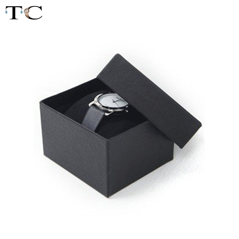 5pcs/lot Watch Boxes Black Paper Watch Packing Boxes With Pillows Inside Free Shipping