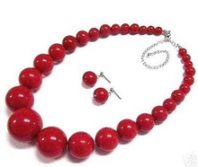 919 +++ frauen schmuck rote koralle halskette ohrring set(China)