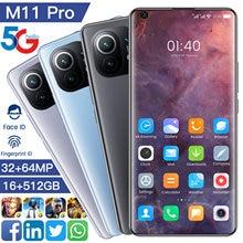 M11 pro 7.3 Polegada versão global smartphone hd tela 4g 5g rede mt6889 deca núcleo 16g 512g duplo sim 64mp câmera do telefone móvel
