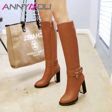 ANNYMOLI Winter Knee High Boots Women Zipper Chunky Heels Long Boots Buckle Super High Heel Shoes Ladies Autumn Plus Size 33-43 цены онлайн