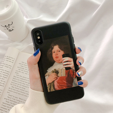 купить Fat girl oil painting case phone for cover iphone 6 s plus iphone 6s 7 8 plus scrub silicone soft cover for iphone xr x xs max 7 дешево