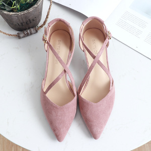 Image 3 - 5cm High Heels Shoes Woman Cross Tied Flock Pointed Toe Thin Heels Pumps Shoes Female Nude Elegant Sandals Party Wedding Shoes