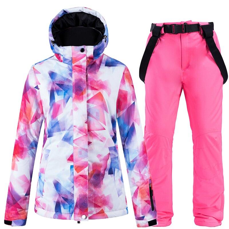Women's Thicken Warm Ski Suit Waterproof Windproof Skiing and Snowboarding Jacket Pants Set Female Snow Costumes Outdoor Wear