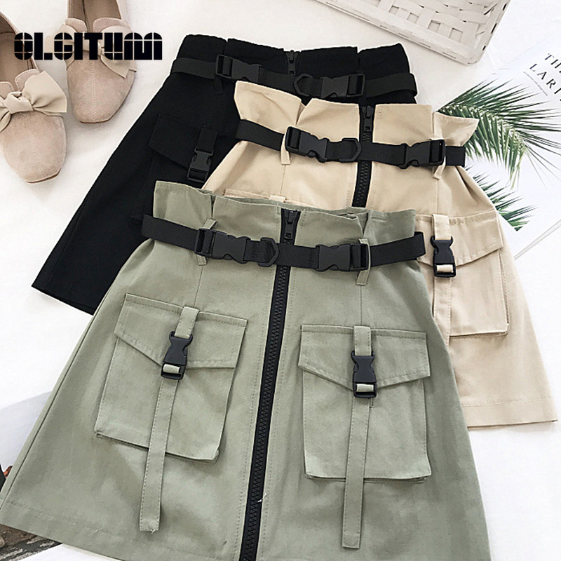 Streetwear A-line Zipper Women Mini Cargo Skirts Solid Bodycon Skirt With Belt 2020 Summer Sexy Half-length Skirt Female