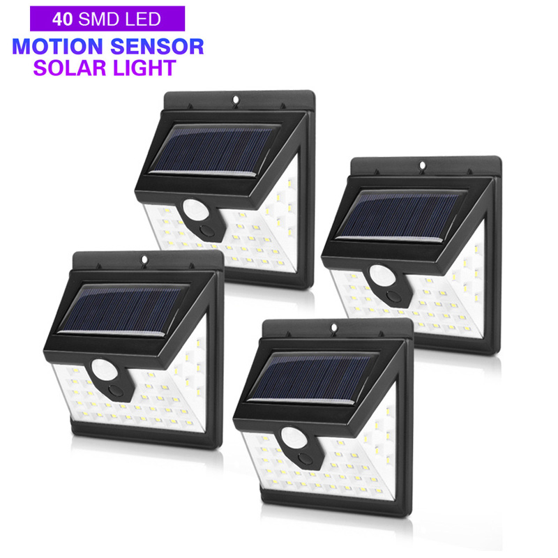 <font><b>40</b></font> LED Solar Power Light 3 Modes Human Body Sensor 4pcs Solar Wall Lamp Outdoor Waterproof Energy Saving Garden Yard Lights image